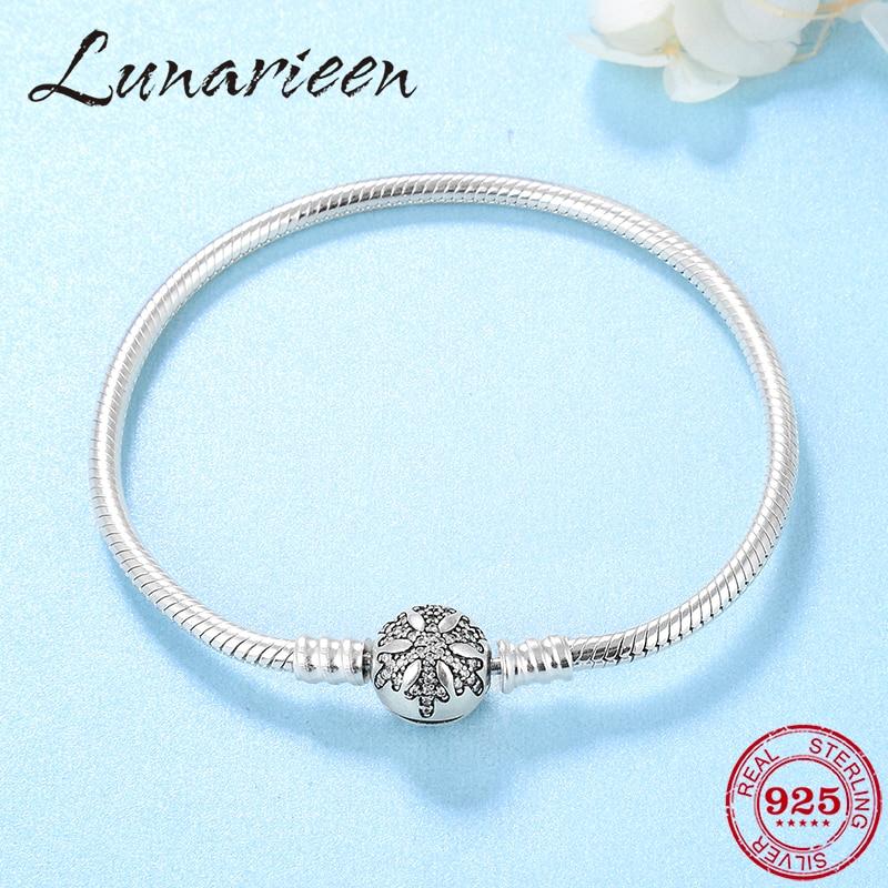 Womens Fine Jewelry Bracelet Silver 925 Original Crystal CZ  Snowflake Snake Bone Chain Charm Bracelet Bangles femme DIY  GiftBracelets