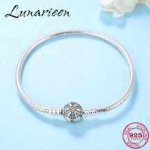 Womens Fine Jewelry Bracelet Silver 925 Original Crystal CZ Snowflake Snake Bone Chain Charm Bracelet Bangles femme DIY Gift