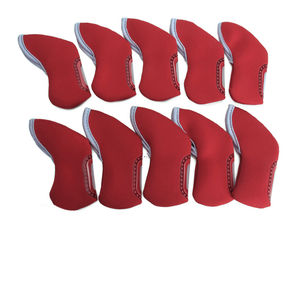10 Golf Iron Club Head Covers Headcovers Neoprene Protection Case Set Red
