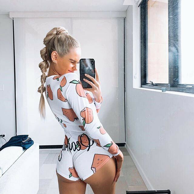 Boutique 2020 Womens Sexy V-Neck Long Sleeve Bodycon Casual Peachy Spicy Print Button Sleepwear Jumpsuit Shorts Romper Leotard