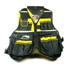 Safety Sstrip Multi Pocket Tools Vest Work vest In Black Yellow Reflective adjustable
