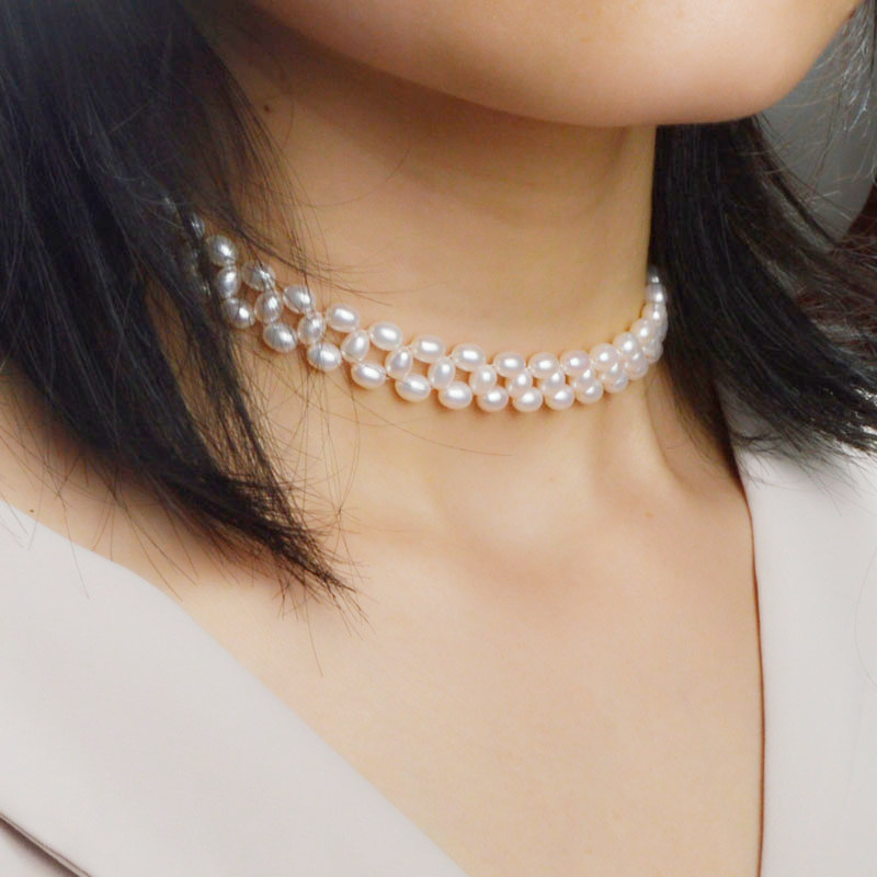 ASHIQI Natural Freshwater Pearl Chokers Necklace Genuine 925 Sterling silver clasp 4.5 5mm pearl handmade Weaving jewelry-in Necklaces from Jewelry & Accessories
