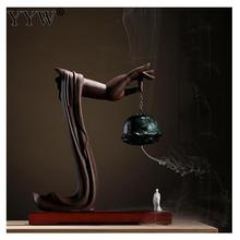 Creative Ceramic Incense Burner Backflow Holder BuddhaS Hand Wierook Waterfall With 10pcs Cones