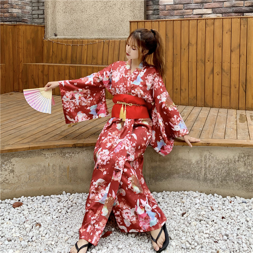 Traditional Cute Kimono Dress For Women Japanese New Year Long Sleeve Vintage Yukata With Belt Girls Kawaii Furisode Performance