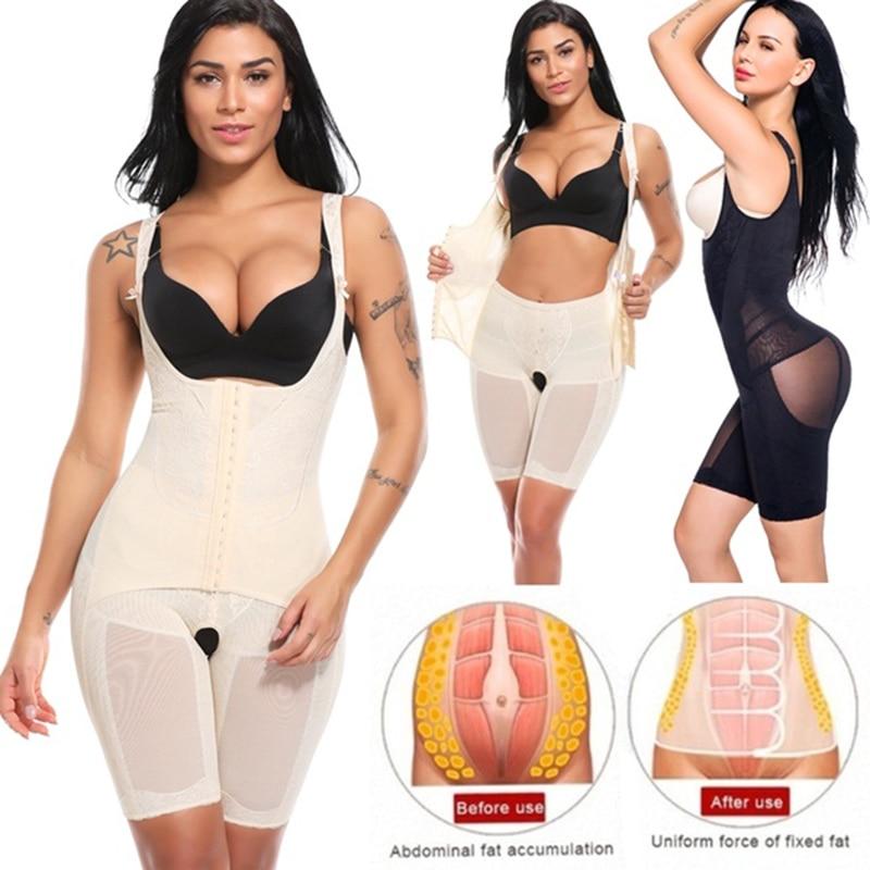 Women/'s Powernet Body Shaper Post Surgery Butt Lifter Open Bust Bodysuit Reducer