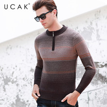 UCAK Brand Sweater Male New Arrival Autumn Winter Fashion Trend Pure Merino Wool Pull Homme Casual Streetwear Warm Sweater U3130
