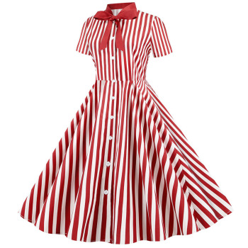 Summer Dress 2020 Women Elegant Vintage Short Sleeve Striped Print Bow Swing Party Office Pin up Dresses Casual Midi Plus Size 1