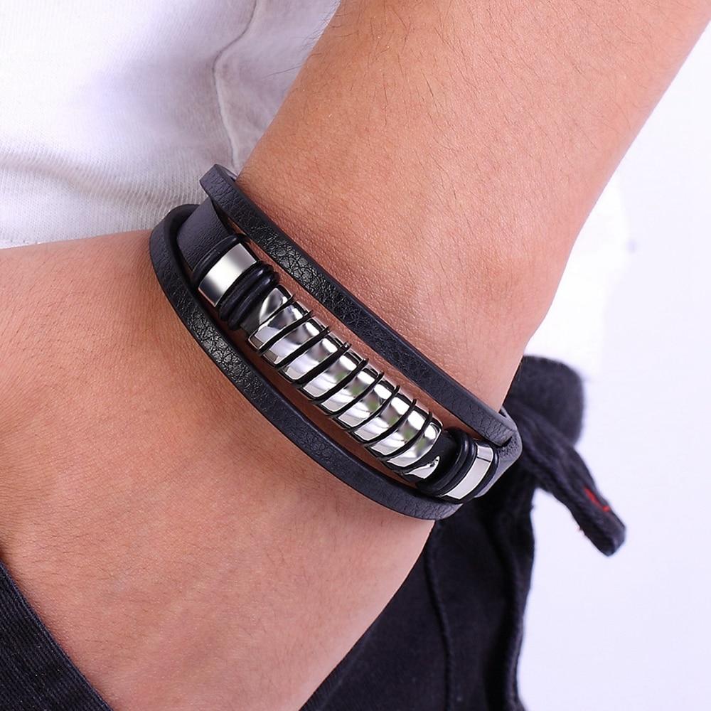 Bracelet en acier inoxydable en cuir multi-couche  3