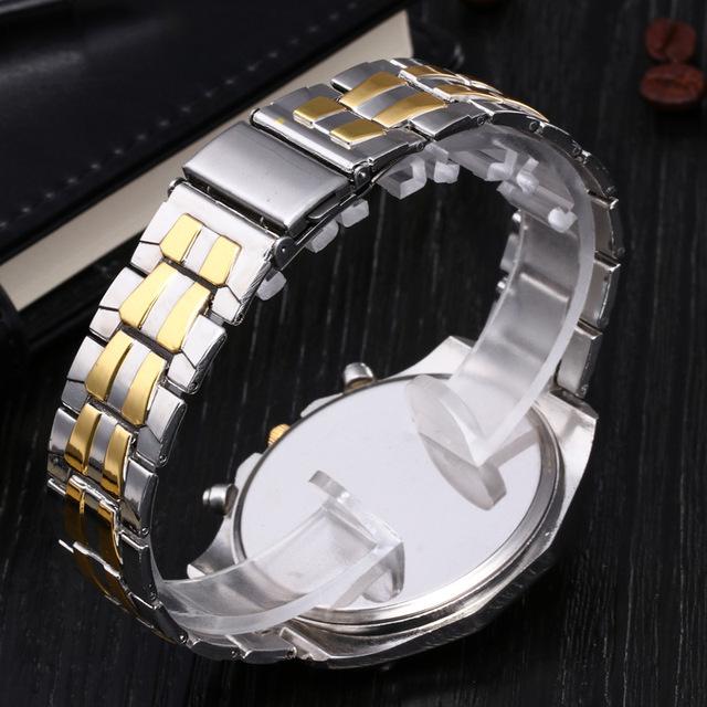 Quartz Silver & Gold Wristwatch for High Class Men