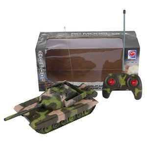 1:20 4CH Power Tank On The Radio Remote Control Military Vehicle Armored Battle Tanks Turret Rotation Light & Music RC Model