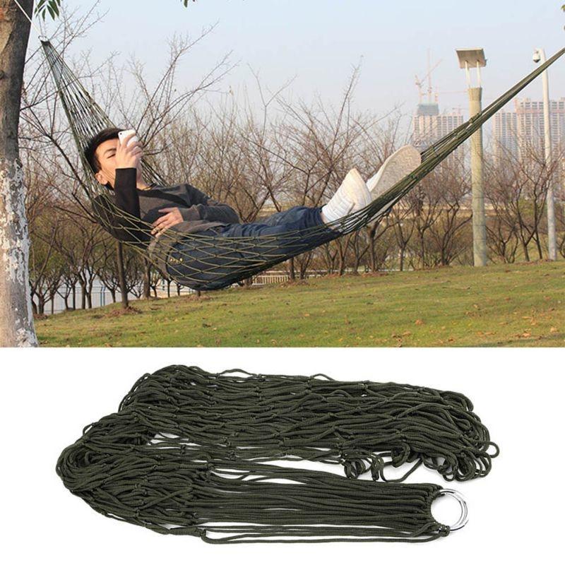 Mesh Hammock Sleeping-Bed Hamaca Patio Garden Travel Nylon Outdoor Green Portable Camping