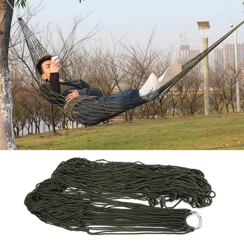 Portable Nylon Mesh Hammock Net Sleeping Bed Hamaca For Outdoor Patio Porch Garden Travel Camping  Blue Green Red Hamac