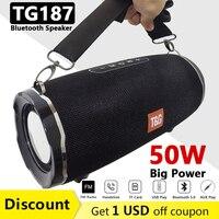 TG187 Altavoz Bluetooth de 50 W de alta potencia BT5.0 Columna portátil impermeable para exteriores Potente altavoz para altavoces de computadora Subwoofer BoomBox 3DStereo Music Center System Soporte TF FM AUX