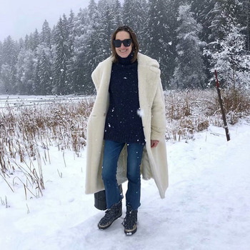 Autumn Winter Women Beige Teddy Coat Stylish Female Thick Warm Cashmere Jacket Casual Girls Streetwear
