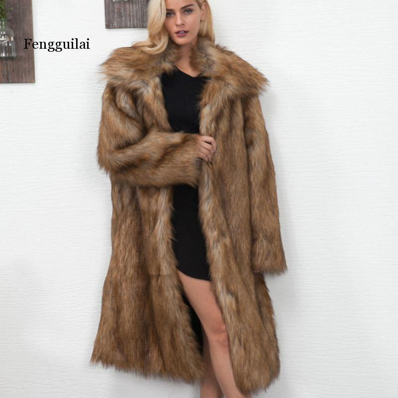 Winter Fashion Thick Warm Faux Fox Fur Women Imitation Fur Coat Long Faux Fur Parkas Outerwear S-XXXL