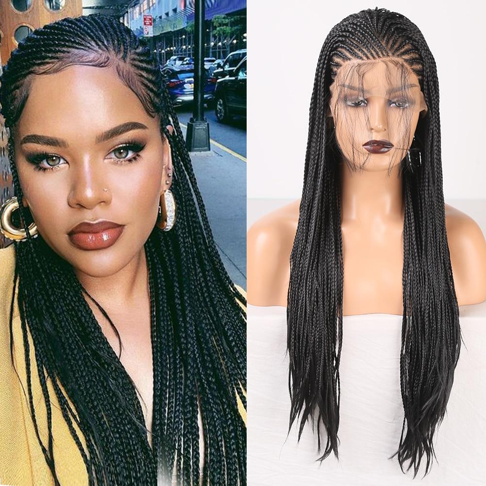 Rongduoyi peruca trançada com parte lateral, peruca longa preta, cabelo sintético, renda frontal, para mulheres, resistente ao calor, cosplay peruca com