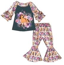 Горячая Распродажа, весенние детские комплекты, расклешенные штаны с длинными рукавами и цветочным принтом, комплекты с принтом животных