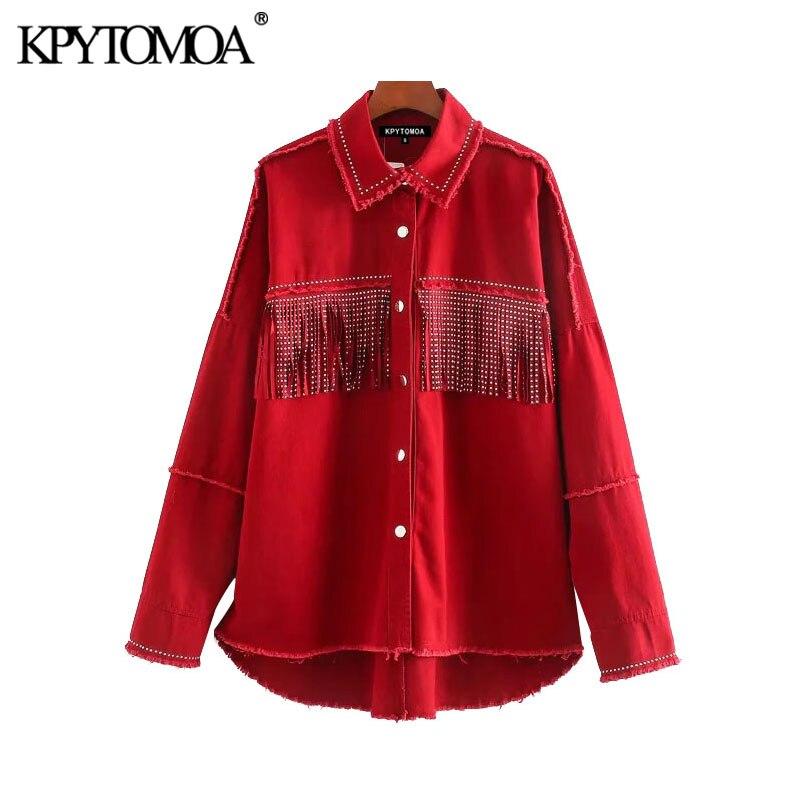 KPYTOMOA Women 2020 Street Fashion Oversized Tassel Jacket Coat Vintage Long Sleeve Frayed Irregular Outerwear Chic Tops