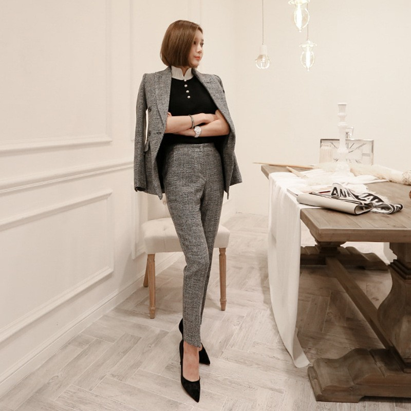 Autumn Winter OL Style Deep Gray Women Pant Suit Double Breasted Slim Blazer High Waist Pencil Pant Casual Female 2 Pieces Set