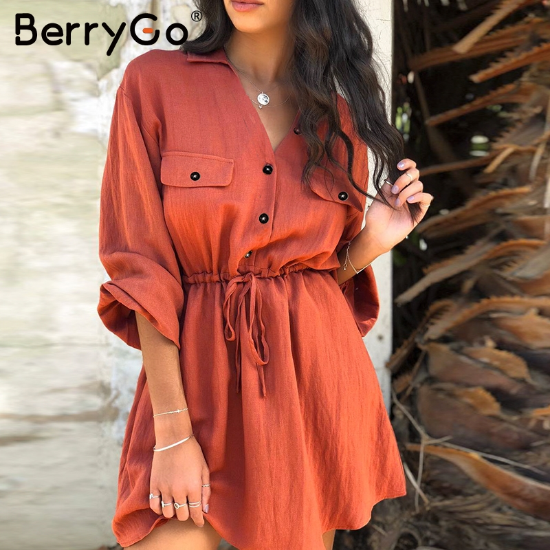BerryGo women dresses mini shirt dresses lantern sleeve sash buttons lace up linen dresses Vintage spring female vestidos dress
