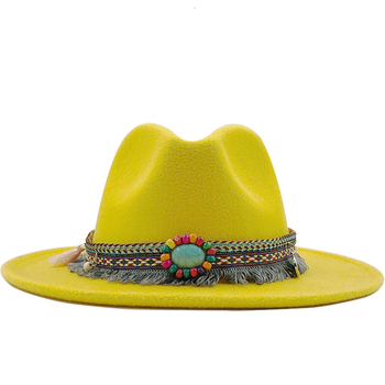 New Men Women Wide Brim Wool Felt Fedora Panama Hat with Belt Buckle Jazz Trilby Cap Party Formal Top Hat In Pink,black X XL