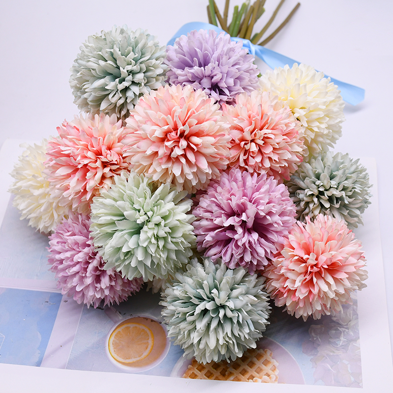 5pcs Dandelion Flower Ball Simulation Silk Artificial Flowers DIY Wedding Party Table Decoration Bride Hold Bouquet Home Decor|Artificial & Dried Flowers| - AliExpress