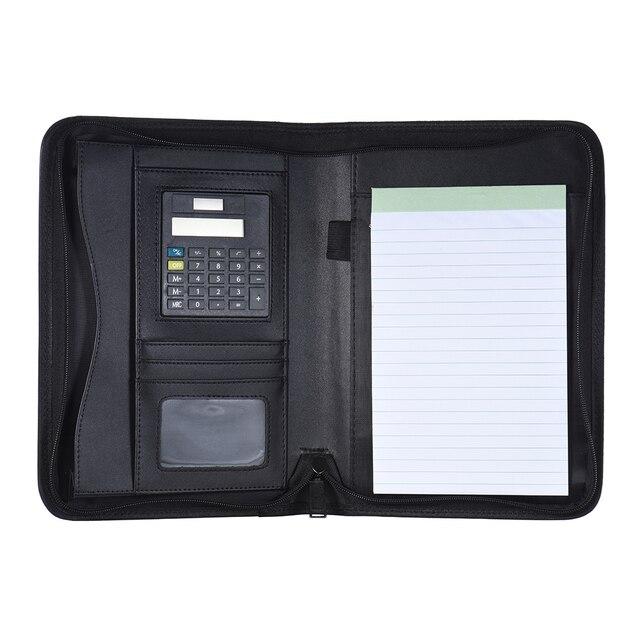 Taşınabilir profesyonel iş portföy Padfolio klasör evrak çantası organizatör A5 PU deri fermuarlı kapatma ile kart tutucu