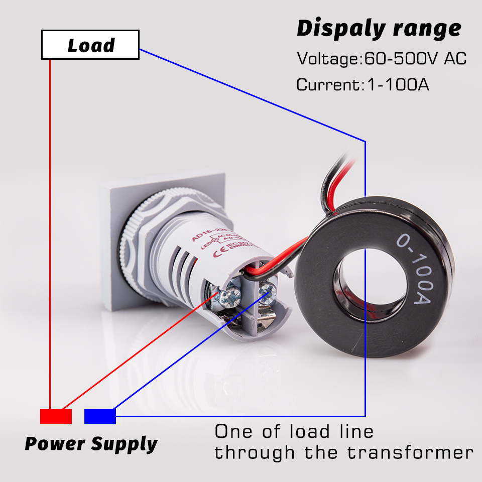Digital LED Dual Display Voltmeter Ammeter Voltage Gauge Meter AC 60-500V AOEX