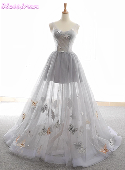 Silver Prom Dress 2020 New Short Inside Long Tulle Sweep Train Sleeveless Scoop Neck Lace-up Evening فساتين السهرة
