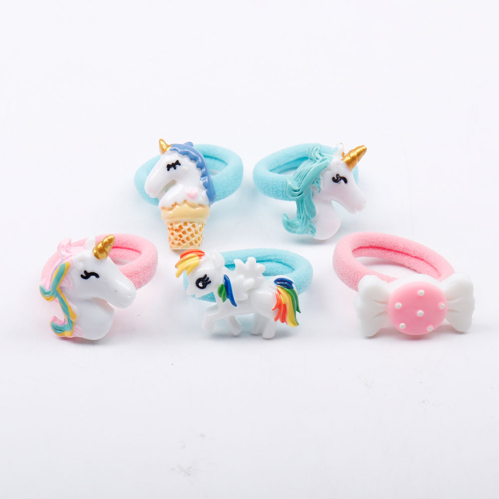 5/12 Pcs/Set Shiny Glitter Elastic Hair Band Heart Star Hair Tie Kids Korean Hair Rope Crwon Kawaii Kids Rabbit Hair Accessories