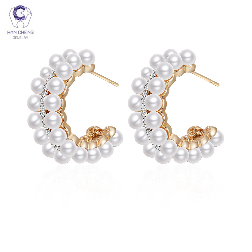 HanCheng New Fashion Earrings Gold Hanging Circle earrings with pearl stud Earrings For Women Jewelry brincos bijoux