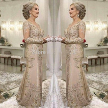 Dresses Lace Mermaid Long-Sleeves Wedding Mother-Of-The-Bride Elegant for Beaded