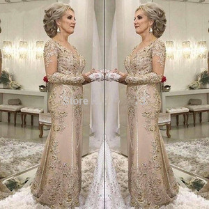 Elegant 2019 Mother Of The Bride Dresses Mermaid Long Sleeves Lace Beaded Long Wedding Party Dresses Mother Dresses For Wedding