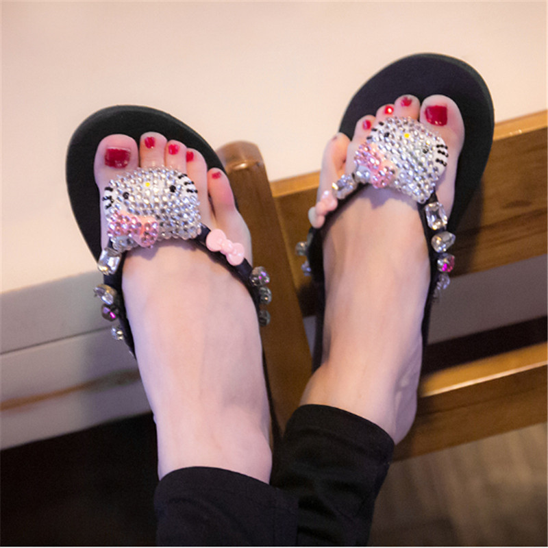 Hello Kitty Woman Slippers Summer Rhinestone Beach Sandals Sexy Outdoor Shoes Pink Pretty Flip-Flops Bling Slides