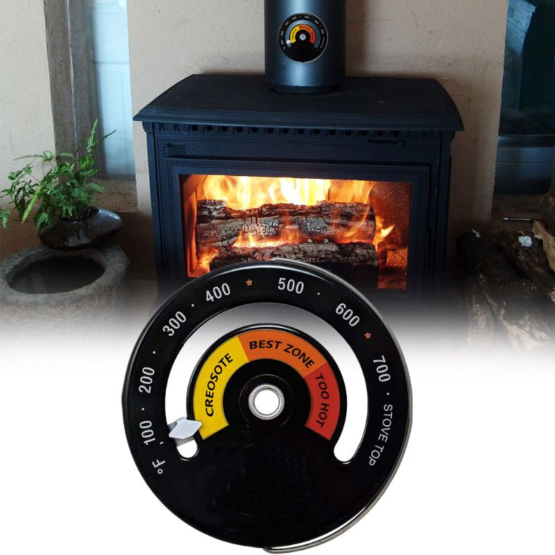 Magnetic Wood Stove Thermometer Heat Powered Temperature Gauge For Log Burning C63B