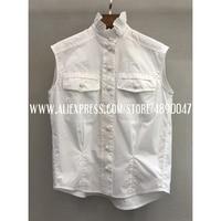 2020 High Quality Women's White Cotton Sleeveless Sleeveless Shirt Stand Collar Temperament Top