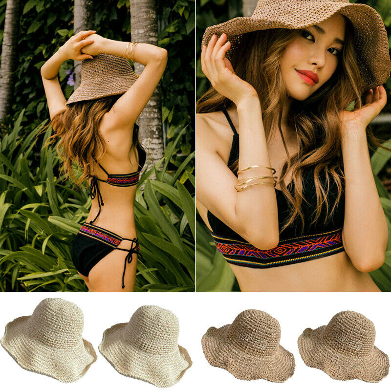 Women Girls Summer Hats SunHat Beach Straw Hat Panama Fedora Cap Wide Brim Protection Summer Cap For  Femminile Sunhats Caps