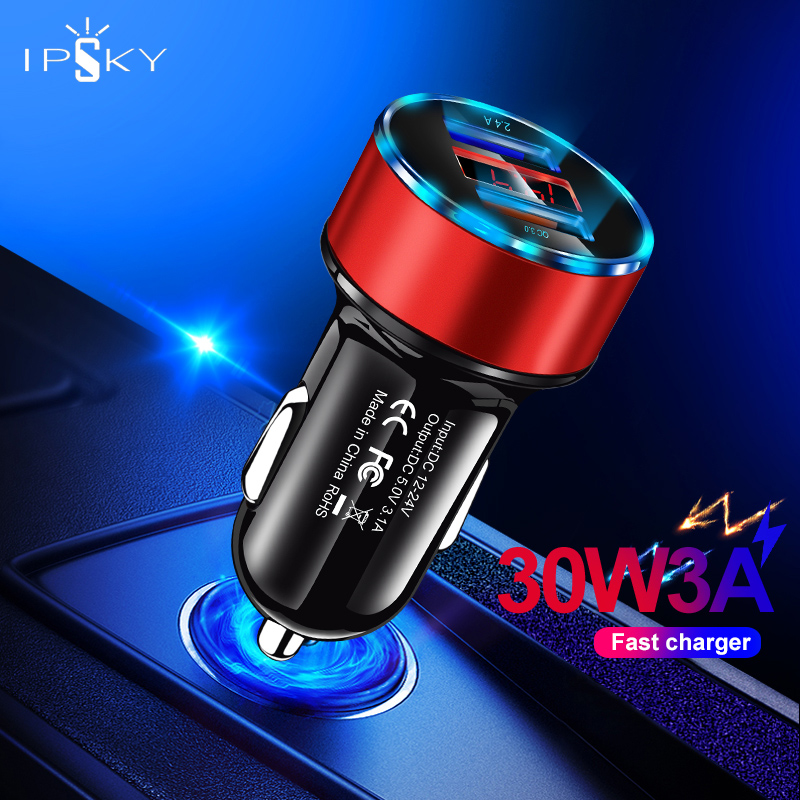 IPSKY Quick Charge 3.0 Mini Car <font><b>Charger</b></font> Fast Mobile Phone Charge <font><b>30W</b></font> 3A Universal 2 <font><b>USB</b></font> Ports For Oneplus 7T For Xiaomi Redmin image