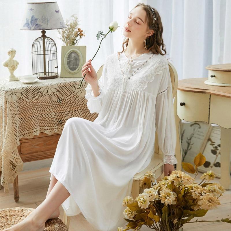 2020 Night Dress Women Vintage Nightgowns Palace Style Sleepwear Women Long Princess Style Sleeping Dress Homewear Summer Dress