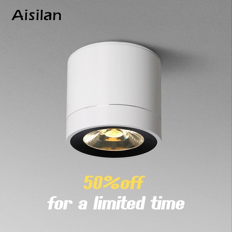 Светодиодный потолочный светильник Aisilan, потолочный светильник поверхностного монтажа для гостиной, спальни, прихожей, кухни, офиса, COB AC85 260V|Полочные светильники|   | АлиЭкспресс