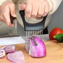 Gıda dilim yardımcısı sebze tutucu paslanmaz çelik soğan kesici soğan Chop meyve sebze kesici dilimleyici domates kesici bıçak