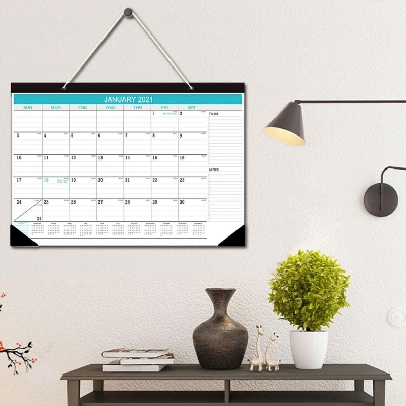 "2021 Wall Calendar January 2021 - December 2021 12""x16.9"" Blue Multi-function Timetable Plan 2"