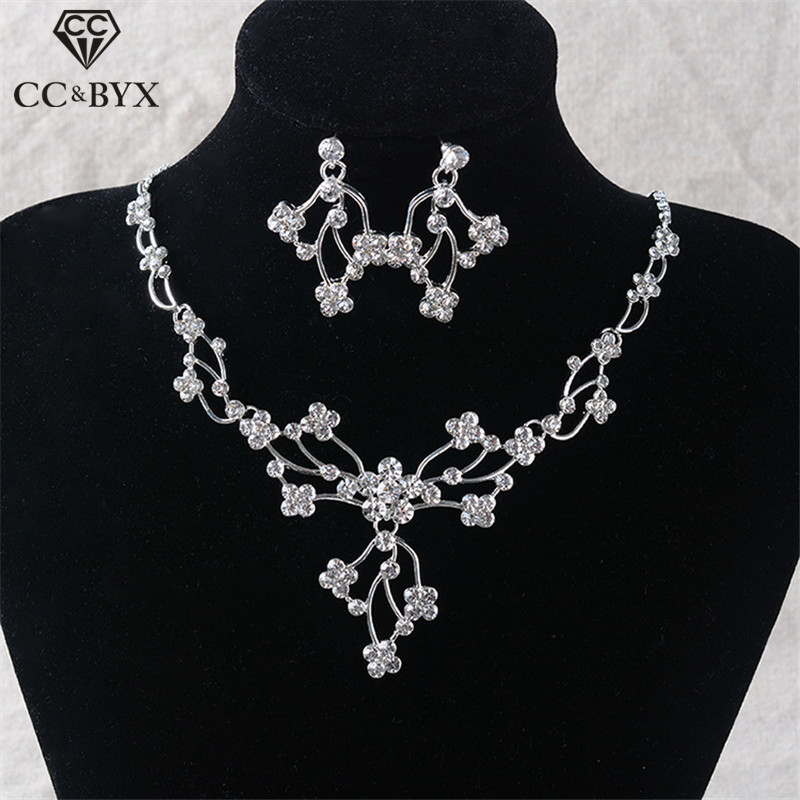 CC Jewelry Sets Necklace Earring Pendant Fashion Wedding Accessories For Bridal Crystal Flower Bijoux Wholesale Elegant TL24
