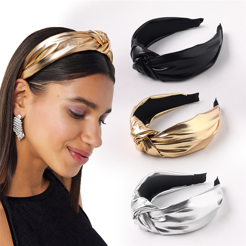 PU leather Headbands For Women Gold Silver Knotted Holiday Hairband Glitter Headband Solid Color Hair Hoop Hair Accessories Girl