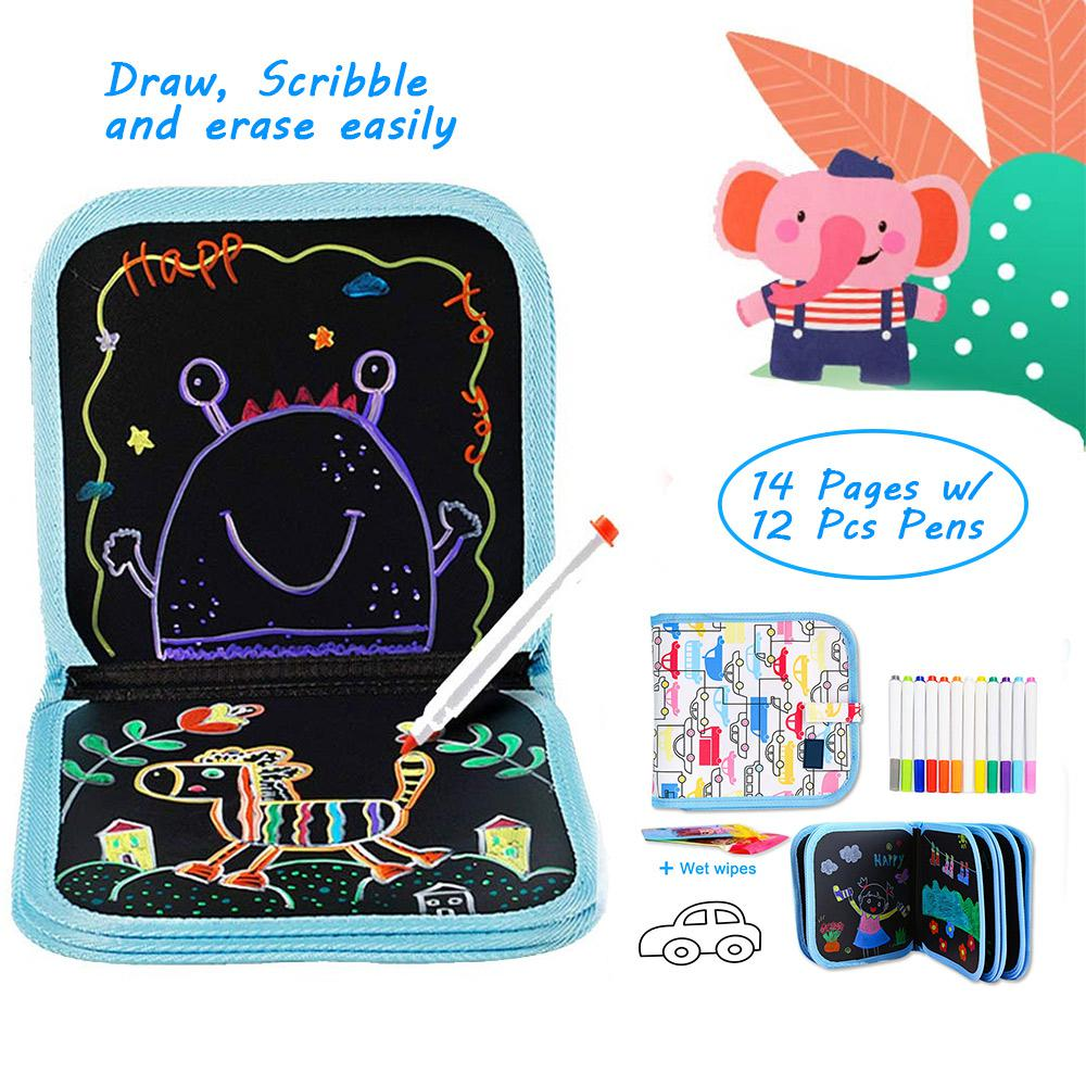 DIY Erasable Drawing Pad Book Coloring Book Doodle With Water Chalk Pen & Wet Tissue Painting Drawing Board For Kids Toys Gifts