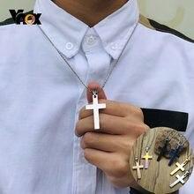 Vnox Einfache Klar Kreuz Anhänger für Frauen Männer 316L Edelstahl Klassische Religiöse Christus Gebet Glaube Halsketten