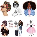 Fashion beauty girl applique Iron-on transfers for clothing heat transfer stickers iron on patches free shipping products