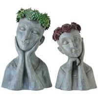 Vintage Resin Creative Human Face Flower Vases Home Decor Crafts Room Decoration Garden Goddess Vase Girls Lady Statue R1802