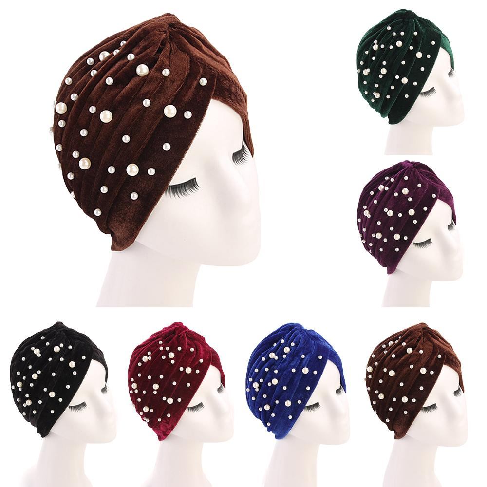 India Muslim Women Velvet Cancer Hat Chemo Cap Hair Loss Scarf Turban Head Wrap Bonnet Beads Beanies Skullies Headscarf Fashion