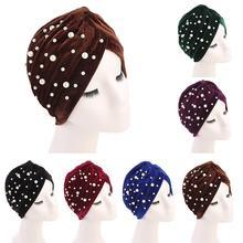 Soft Velvet Turban หมวกอินเดียลูกปัด Headwear Bonnet Beanie ผู้หญิง Headscarf แฟชั่นมุสลิมหมวก Chemo ผมฝาครอบจีบหมวก